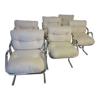 Jerry Johnson Chrome and Upholstered Dining Chairs by Landes Company - set of 6 For Sale
