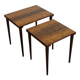 "Original Danish Mid Century Modern Rosewood Nesting Tables - ""Inger"" For Sale"