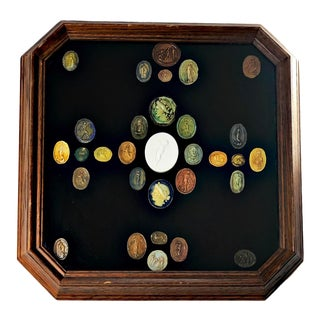Framed Grand Tour Italian Multi Color Antique Cameos and Intaglios For Sale