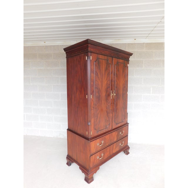 Early 21st Century Henkel Harris Chippendale Style Mahogany Armoire Cabinet 1247 For Sale - Image 5 of 5