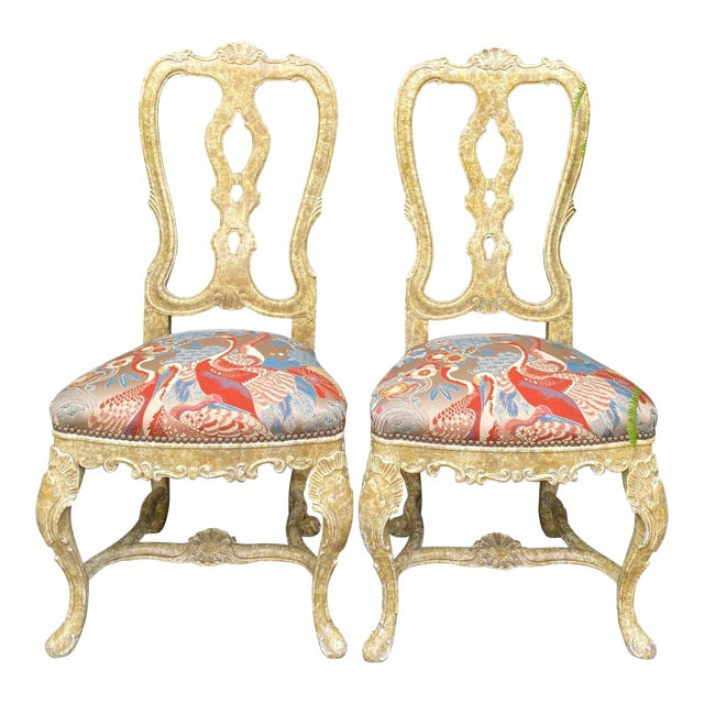 Pair of Antique Venetian Side Chairs W Scalamandre Silk Lampas For Sale
