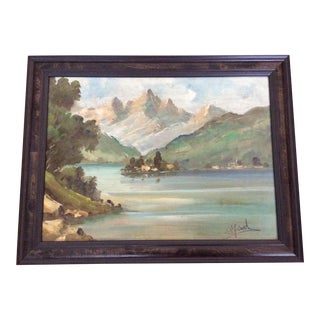 Antique English Landscape Oil of Lake Setting For Sale