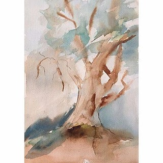 Vintage Watercolor Painting of a Oak Tree For Sale