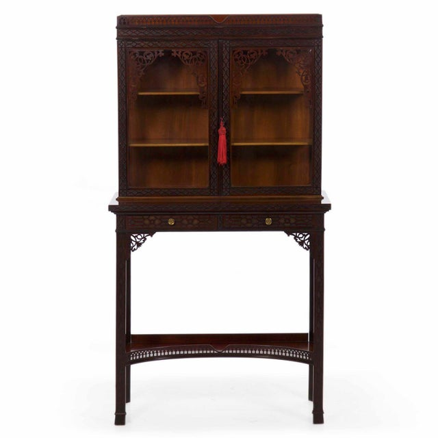 Chinese Chippendale Antique Curio Cabinet by James Lamb, 19th Century For  Sale - Image 13 - Chinese Chippendale Antique Curio Cabinet By James Lamb, 19th