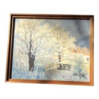 Vintage American Impressionist Landscape Oil Painting, Framed For Sale