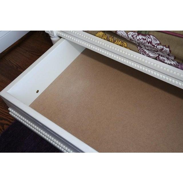 Modern Ornately Wood Carved Custom Botanical Print Upholstery Day Bed For Sale - Image 9 of 12