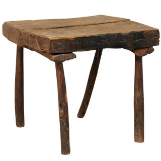 19th Century French Rustic Oak Wood Side Table For Sale