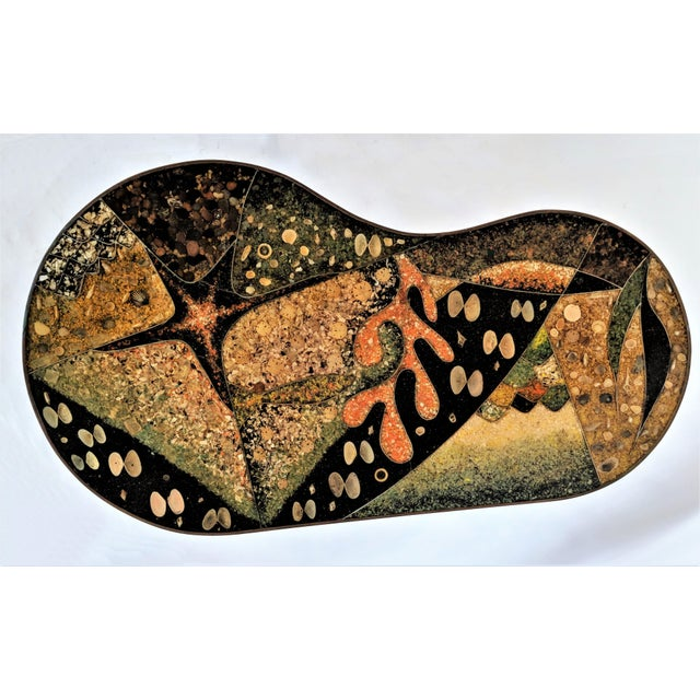1957 Mid-Century Modern Inlaid Copper, Resin, Shell and Stone Coffee Table For Sale - Image 4 of 13