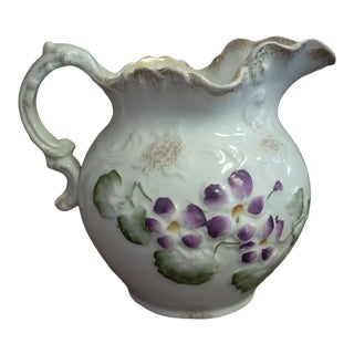 1920s Purple Flower Wheeling Vintage Ceramic Pitcher For Sale