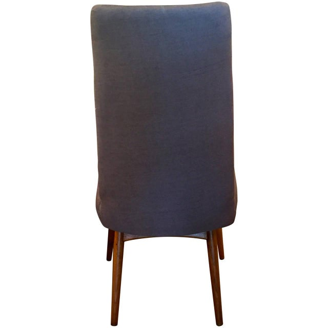 Mid Century Modern Adrian Pearsall Set of Six Dining Chairs in Gray Linen - Image 6 of 7