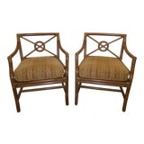 Image of Pair of Vintage Mid Century Modern McGuire Tan Stripped Bamboo Accent Chairs For Sale