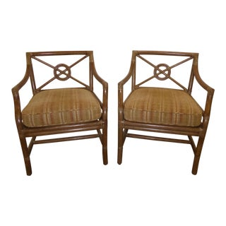 Pair of Vintage Mid Century Modern McGuire Tan Stripped Bamboo Accent Chairs For Sale