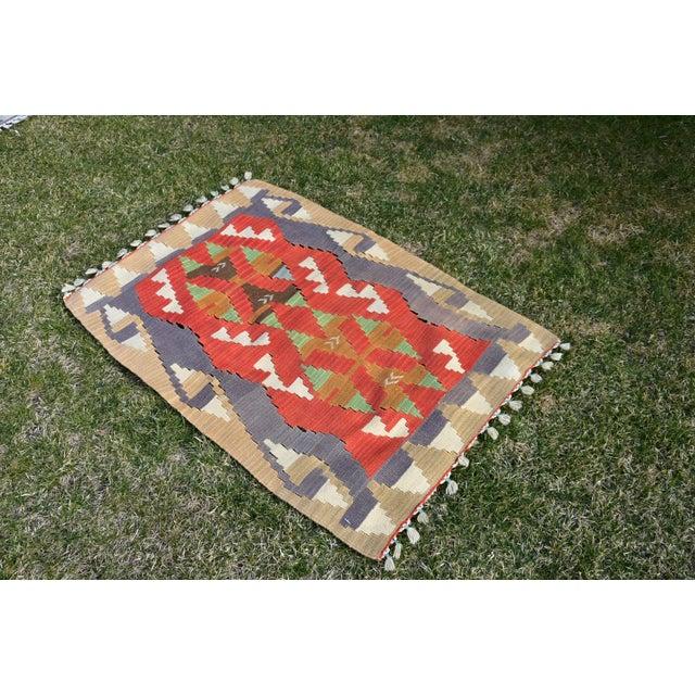 Rustic Turkish Traditional Handwoven Anatolian Nomadic Rustic Style Oushak Kilim Rug For Sale - Image 3 of 13