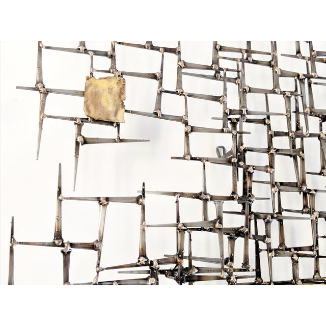 Bronze Brass Brutalist Nail Wall Sculpture For Sale - Image 11 of 12
