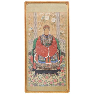 Monumental Chinese Ancestral Matriarch Framed Scroll Painting For Sale