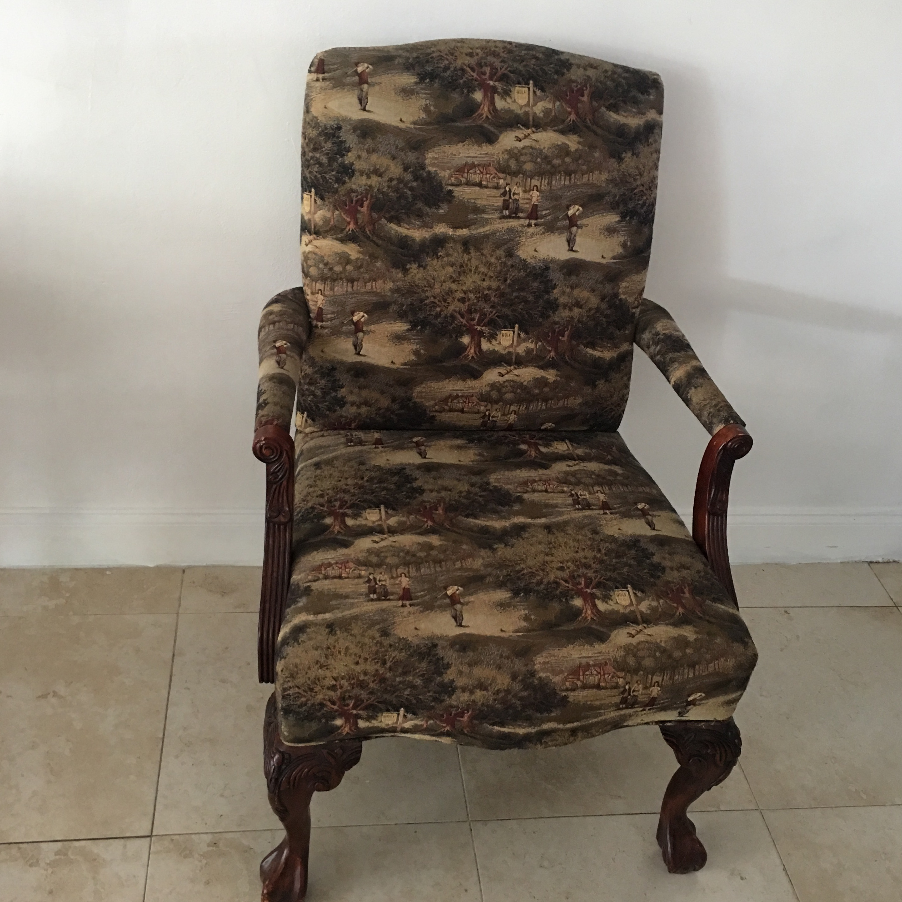 Impressive Clawfoot Vintage Chair With Tapestry Golf Pattern Fabric. This  Chair Was A Custom Design