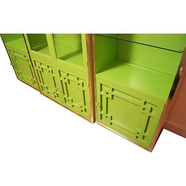 Green Thomasville Fretwork Cabinets - Set of 3 - Image 4 of 7