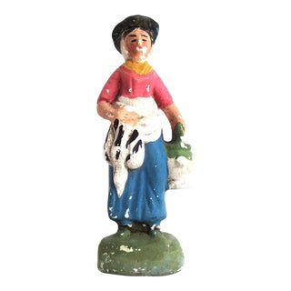 Antique French Santon the Farmwoman La Fermiere Figurine For Sale