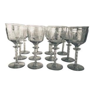 Vintage Tiffin Franciscan Cadena Pattern Crystal Wine Glasses S/12 For Sale