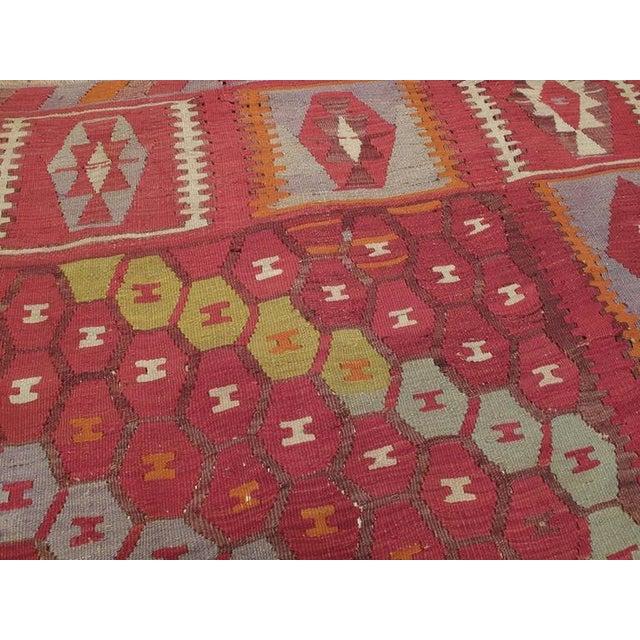 "Early 20th Century ""Honeycomb"" Sharkisla Kilim For Sale - Image 5 of 10"