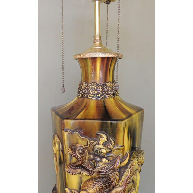 19th C Chinese Glazed Ceramic Lamp For Sale - Image 9 of 9