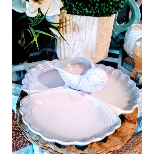 This is a very large ceramic clamshell chip and dip platter by Royal Haegar. The platter is so beautifully detailed with 3...