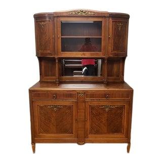 Vintage Walnut French Buffet Hunt Board Cupboard Cabinet C1930 For Sale