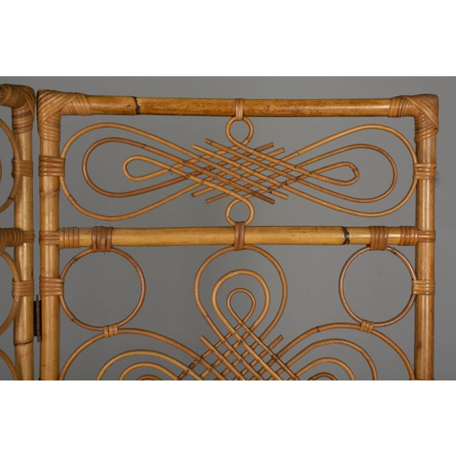 Mid Century French Riviera Bamboo and Rattan Screen For Sale - Image 4 of 9