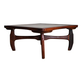 1970s Don Shoemaker Mexican Rosewood Marble Coffee Table For Sale