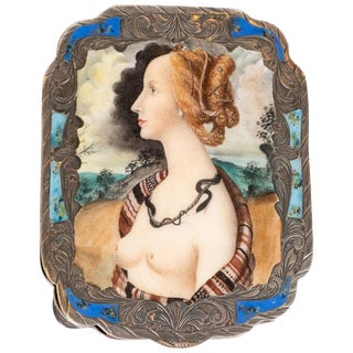 Edwardian Engraved Silver and Hand Painted Enamel Compact Portrait Mirror For Sale