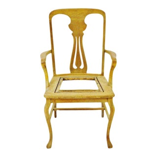 Antique Quartersawn Oak Claw Foot Arm Chair For Sale