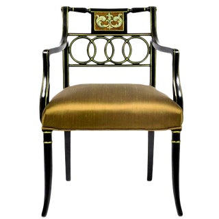 Antique English Regency Style Ebonized Upholstered Arm Chair For Sale
