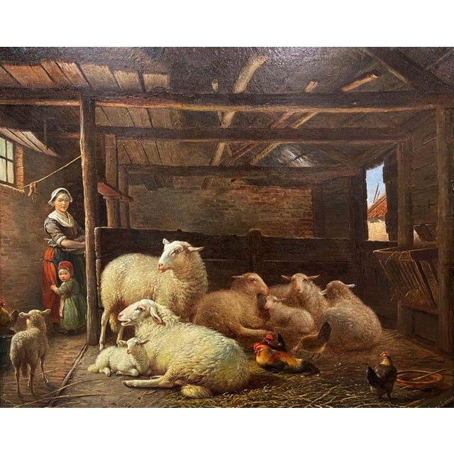 Set in the original carved gilt wood frame, this antique oil on canvas was crafted in Europe circa 1860. The pastoral...