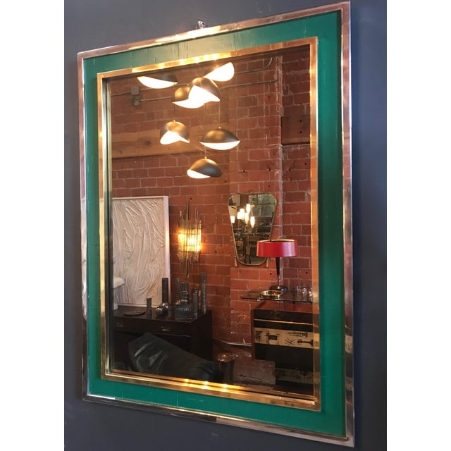 Art Deco Mid-Century Tommaso Barbi Green Mirror in Chrome and Brass, Italy, 1970s For Sale - Image 3 of 8