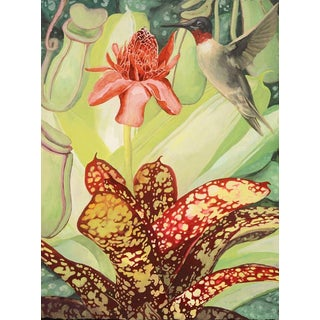"Laurie Flaherty ""Visitation"" Contemporary Flora and Fauna Gouache Painting For Sale"