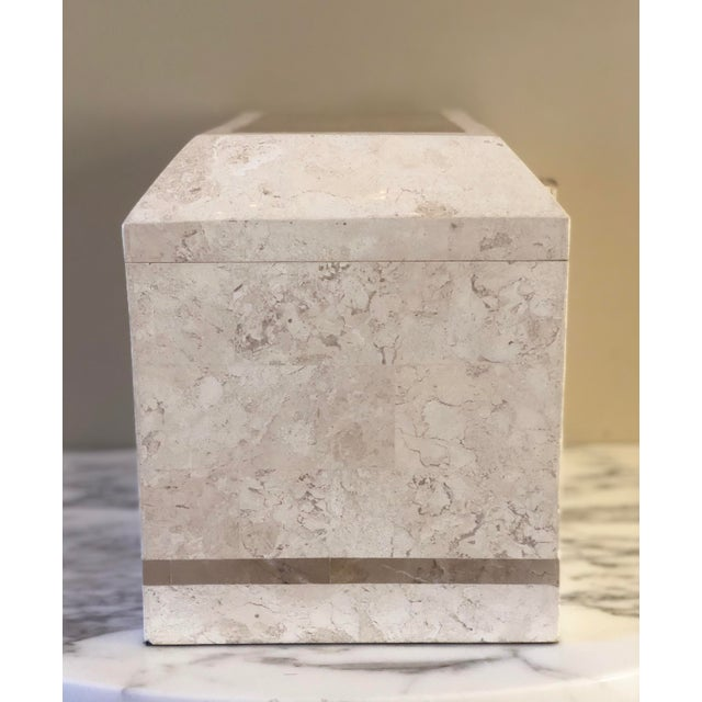 We are pleased to offer a stylish, postmodern, Maitland-Smith tessellated stone storage box, circa the 1980s. The hinged...