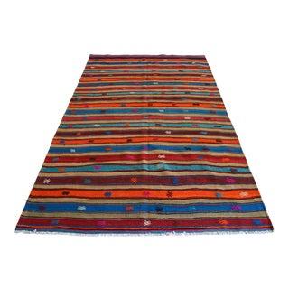 1960s Vintage Hand Woven Turkish Kilim Rug Colorful Flat Weave Area Rug For Sale