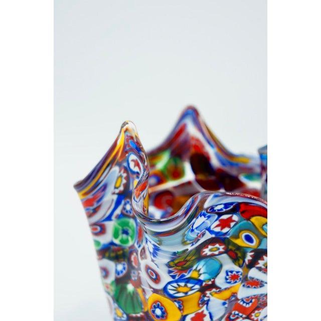 Vintage Murano Millefiori Handkerchief Vase For Sale - Image 6 of 12