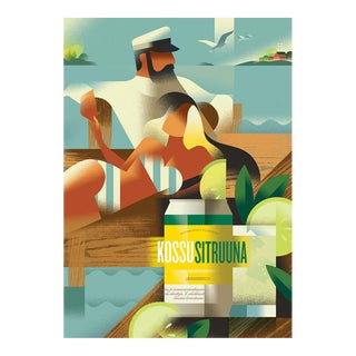 Danish Modern Alcohol Poster, Kossu Sitruuna For Sale