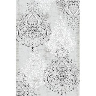 Damask Gray White Rug 6'8''x 10'