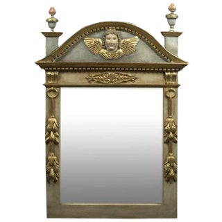 French Polychromed and Parcel-Gilt Mirror, 19th Century For Sale