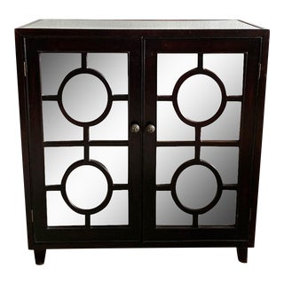 Modern Mirrored, Circle Front Storage Cabinet, Bar For Sale