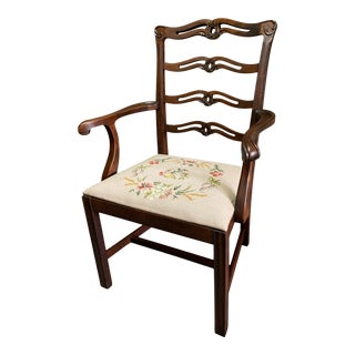 Vintage Ribbon Back Mahogany Chair W/Needlepoint Seat Cushion For Sale