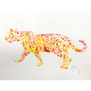 Neon Leopard Contemporary Painting For Sale