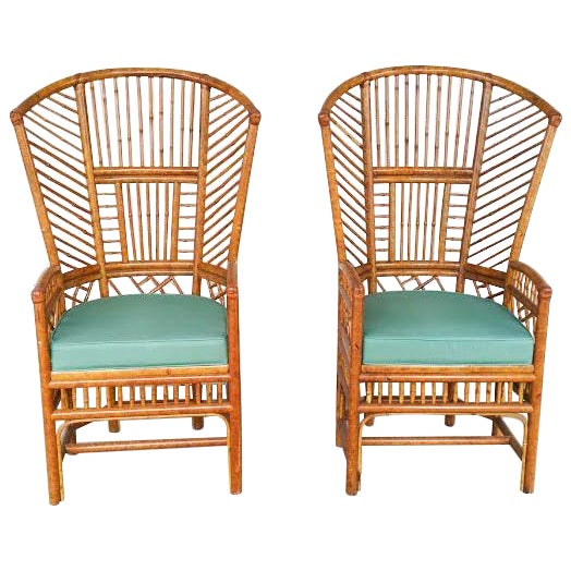 Bamboo High Back Arm Chairs- A Pair - Image 1 of 6