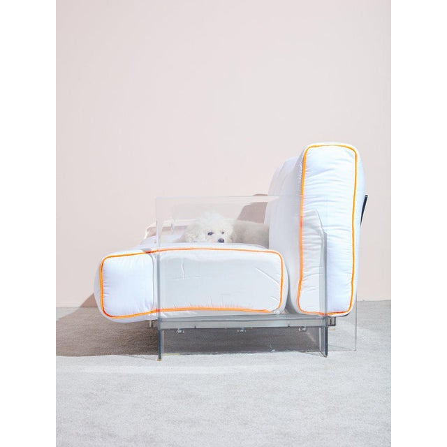 Vintage Pop Loveseat by Kartell reupholstered with Cloud Comforters by Buffy. This iconic transparent plastic loveseat...