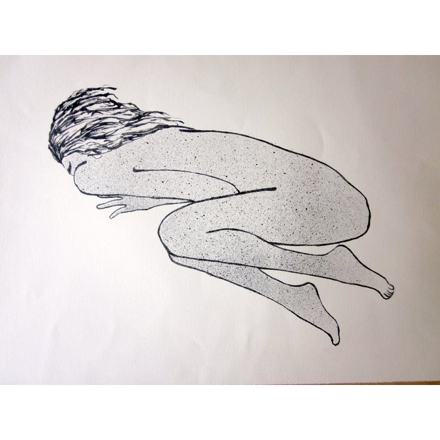 """1970s 1970s Vintage Suzanne Peters """"Sleeping Woman"""" Original Black and White Aquatint Lithograph For Sale - Image 5 of 7"""