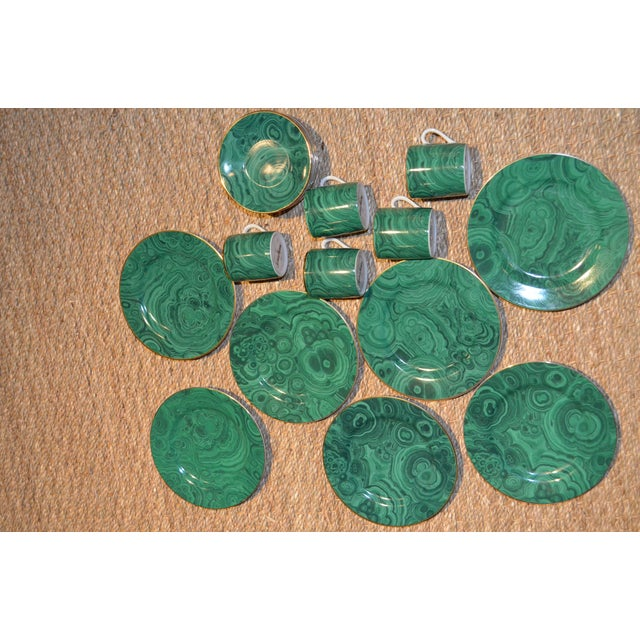 Green Neiman Marcus Malachite Dinnerware - Set of 19 For Sale - Image 8 of 10