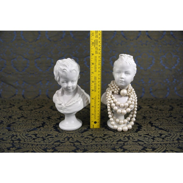 Vintage Porcelain Borghese Boy and Girl Busts by Houdon F. Kessler - a Pair For Sale - Image 9 of 10