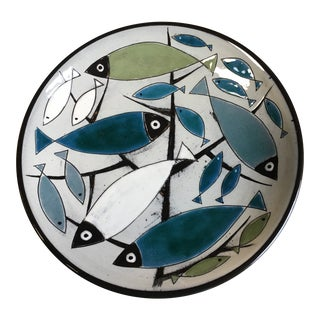 1950s Astrid Tjalk Fyrbo Handpainted Pottery Plate For Sale